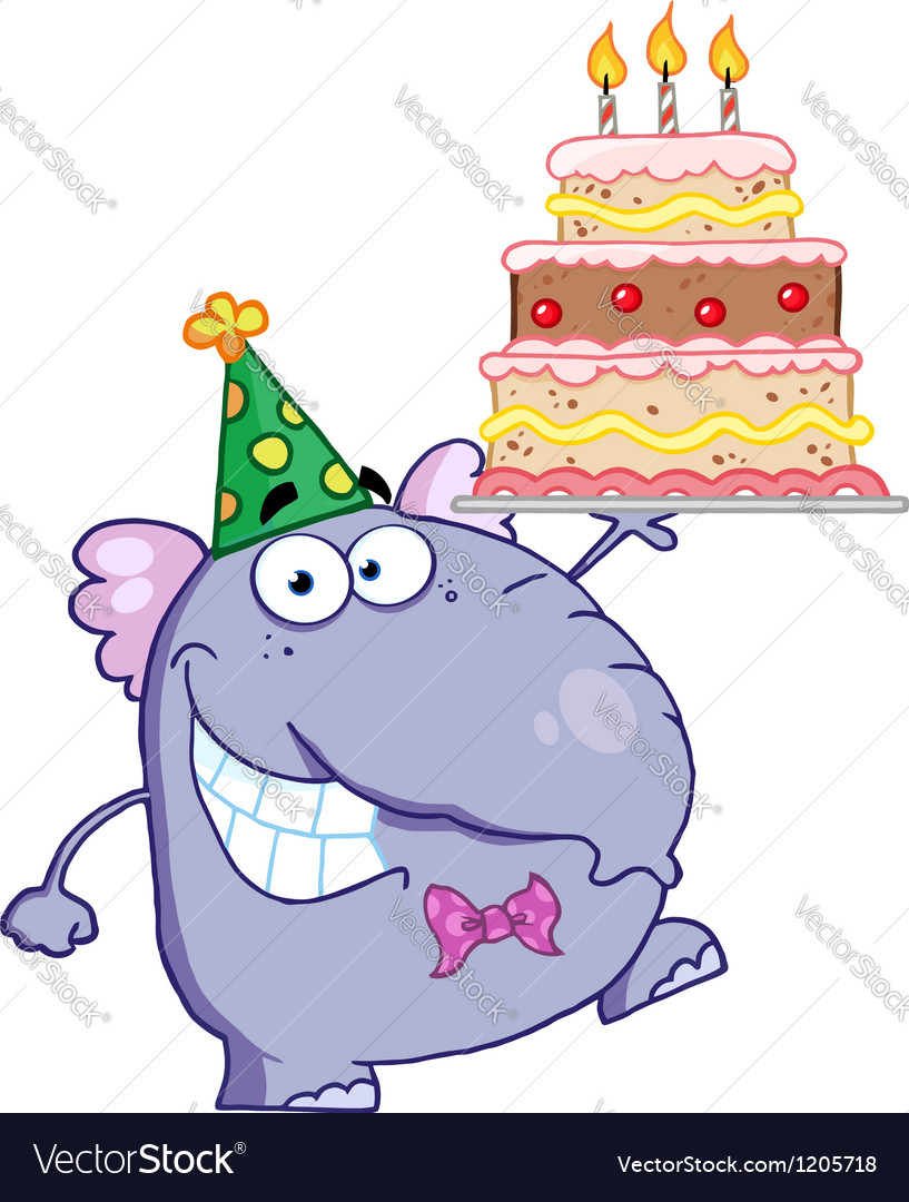 Purple party elephant holding a birthday cake vector | Price: 1 Credit (USD $1)
