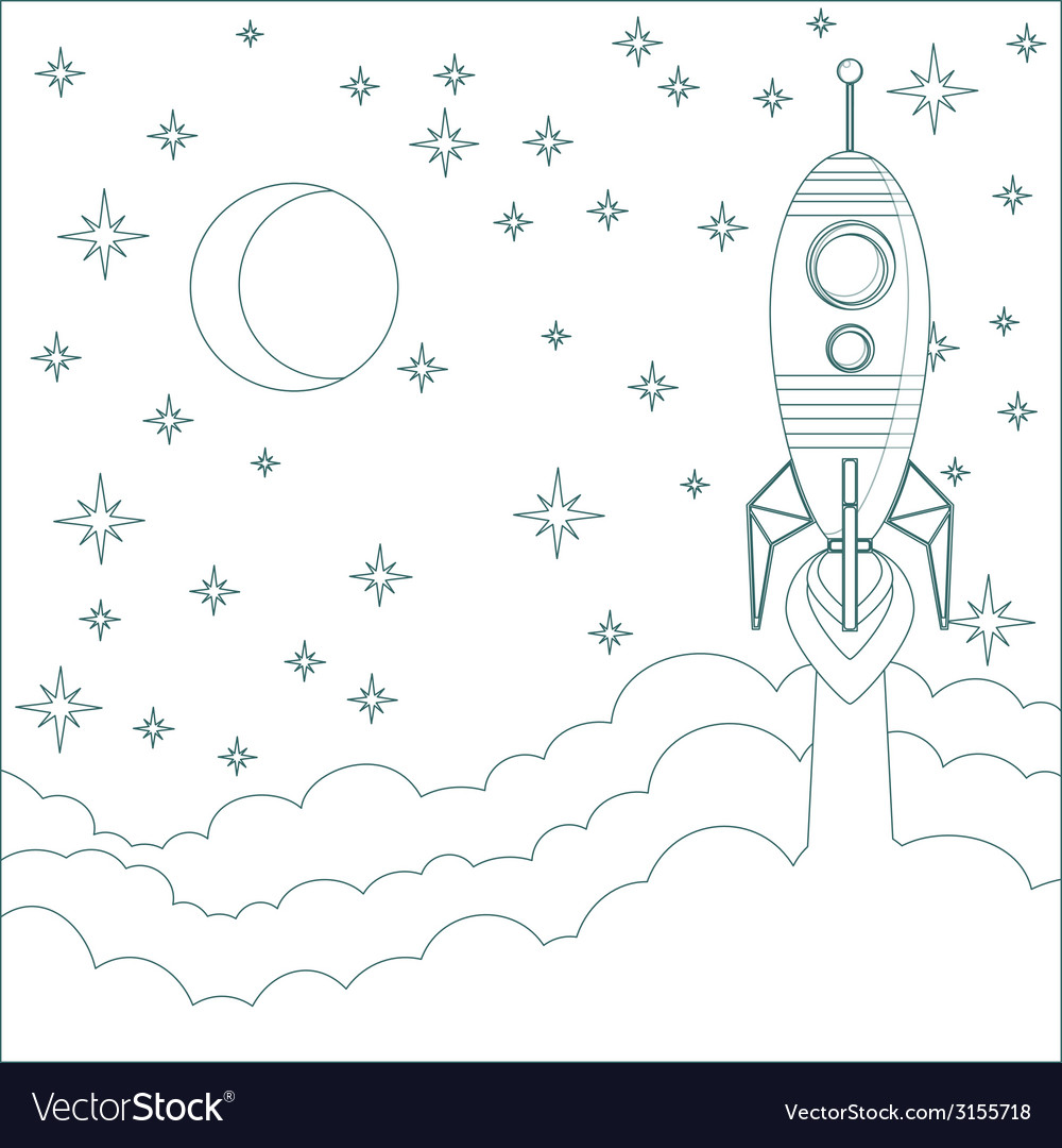 Rocket  moon in sky with space for text vector | Price: 1 Credit (USD $1)