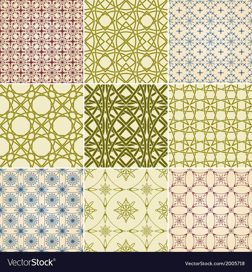 Set of nine seamless patterns vector | Price: 1 Credit (USD $1)