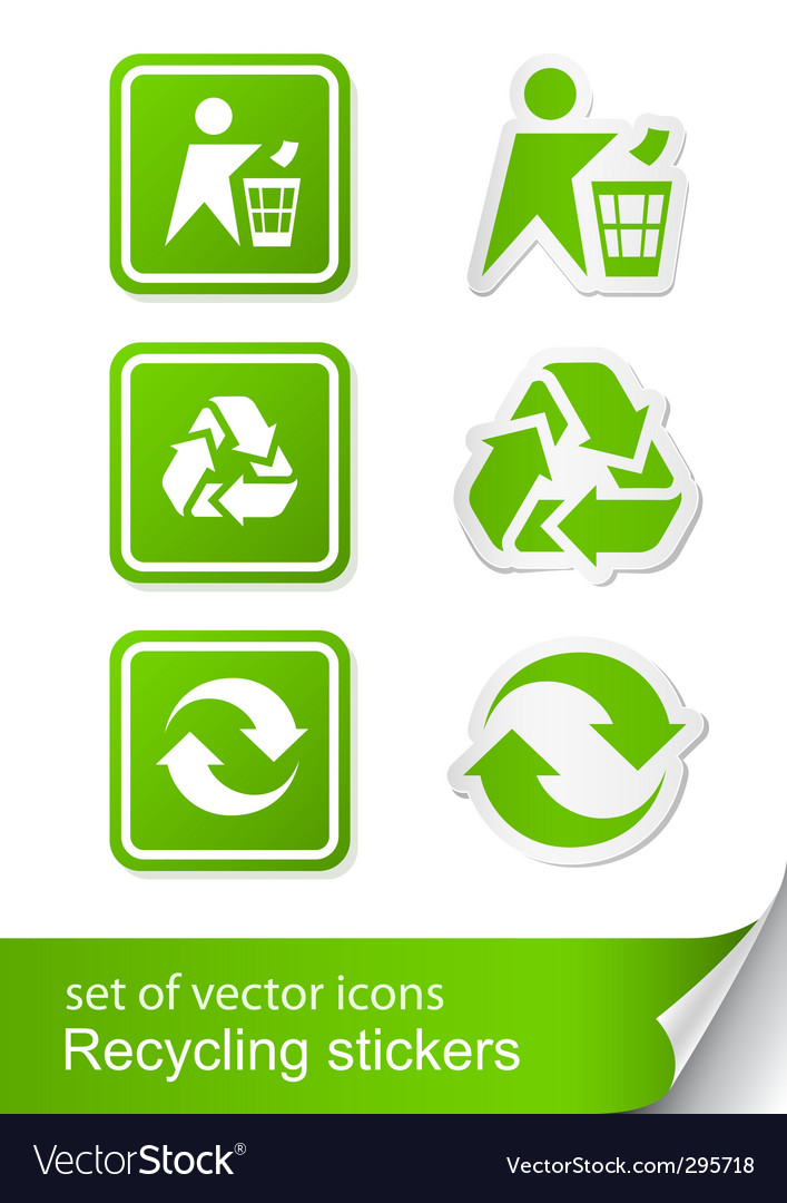 Set recycling sign icon sticker vector | Price: 1 Credit (USD $1)