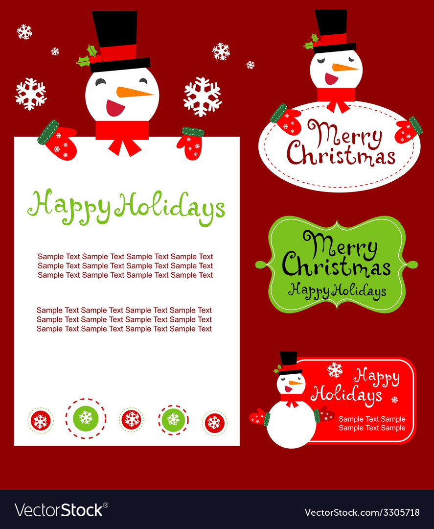 Templates for christmas greeting card gift tag vector | Price: 1 Credit (USD $1)