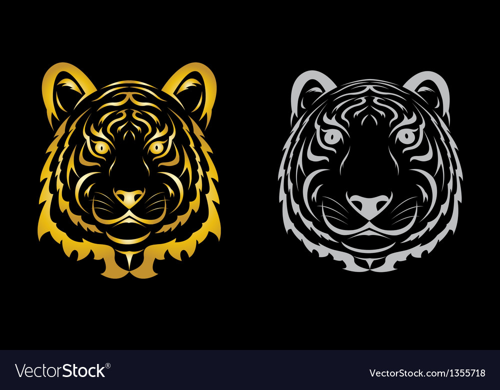 Tiger head silhouette vector | Price: 1 Credit (USD $1)