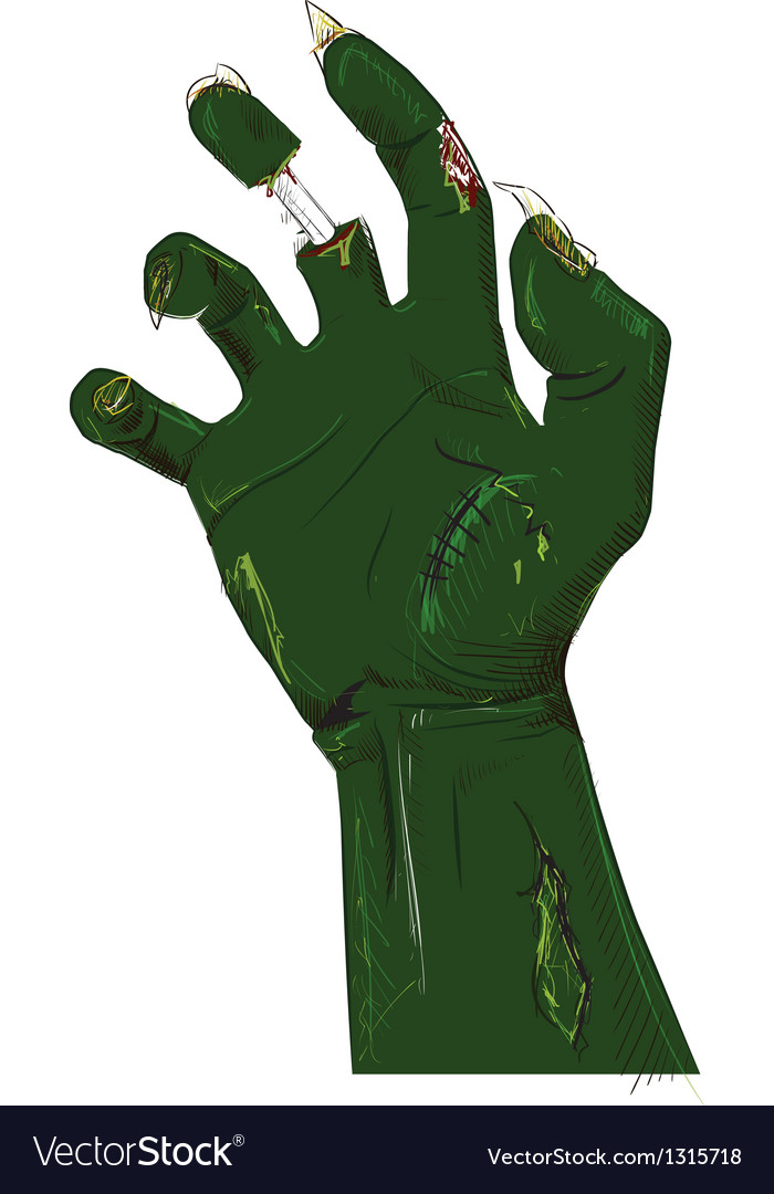 Zombie hand isolated on white vector | Price: 3 Credit (USD $3)