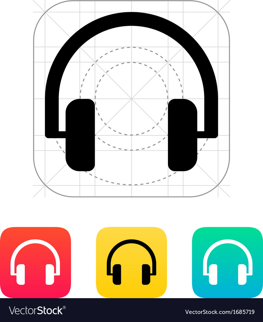 Audio headphones icon vector | Price: 1 Credit (USD $1)