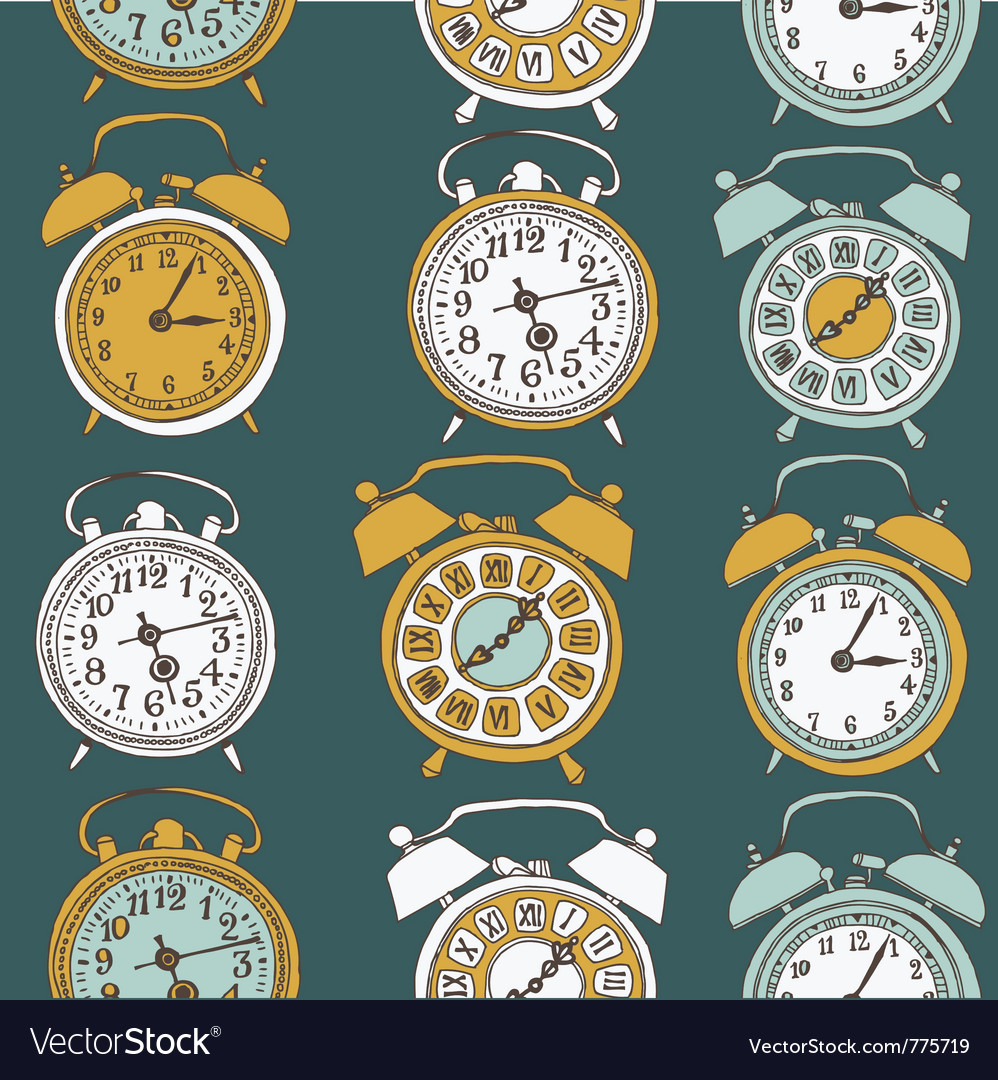 Clock drawing seamless vector | Price: 1 Credit (USD $1)