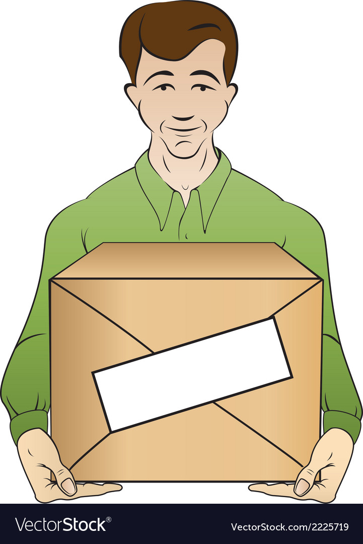 Courier holds box vector | Price: 1 Credit (USD $1)