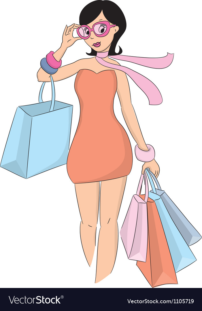 Fashion shopping girl vector | Price: 3 Credit (USD $3)
