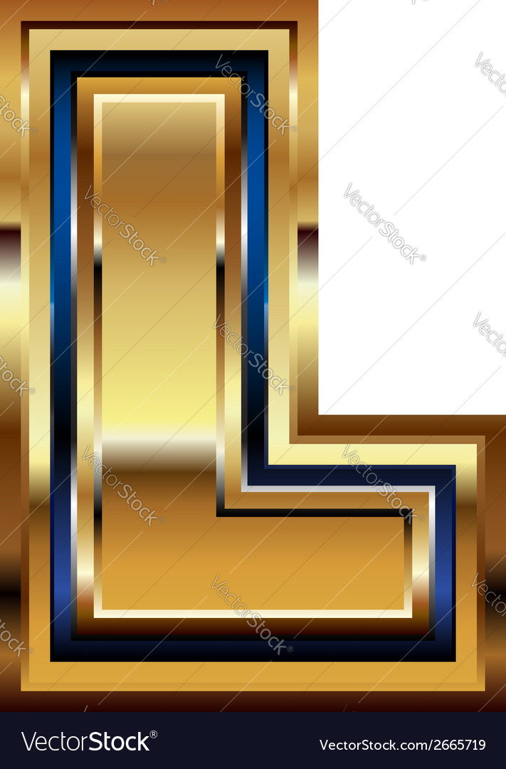 Golden font letter l vector | Price: 1 Credit (USD $1)