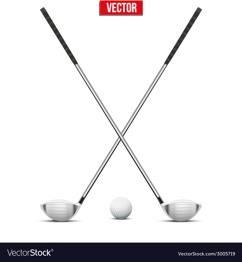 Golf clubs and ball vector