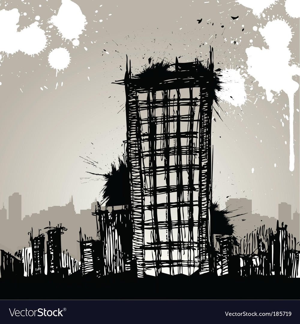Grunge city drawing vector | Price: 1 Credit (USD $1)