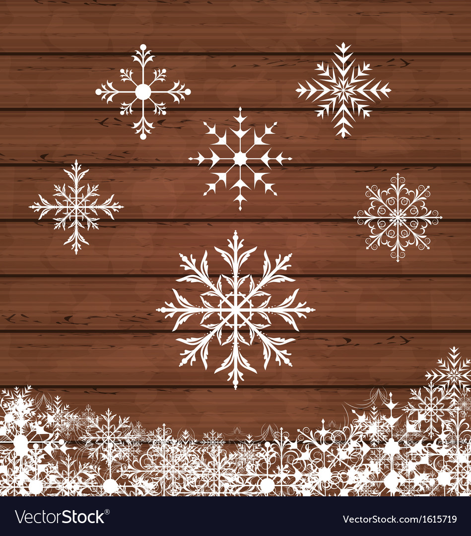 Set snowflakes on wooden texture vector | Price: 1 Credit (USD $1)
