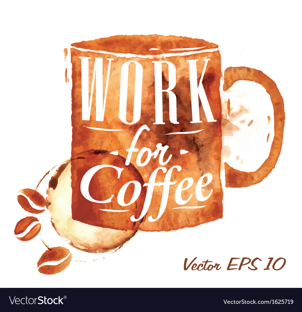 Traces coffee office cup vector | Price: 1 Credit (USD $1)