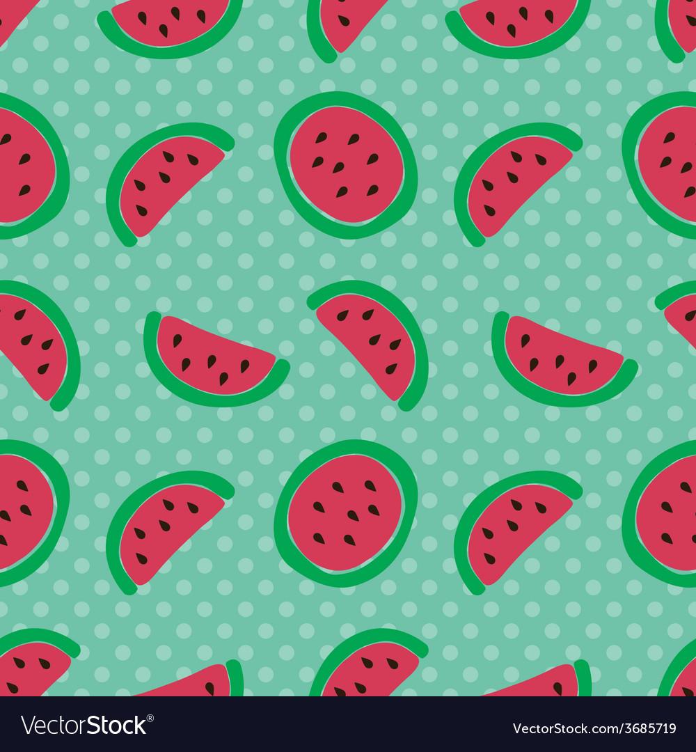 Watermelon slice seamless pattern vector   Price: 1 Credit (USD $1)