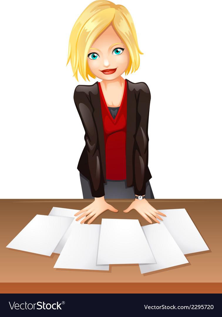 A woman in the office vector | Price: 1 Credit (USD $1)