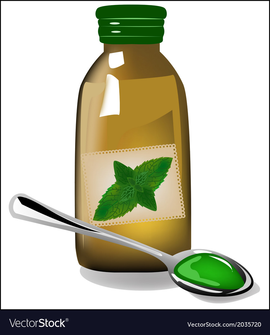 Therapy mint syrup in a bottle vector | Price: 1 Credit (USD $1)