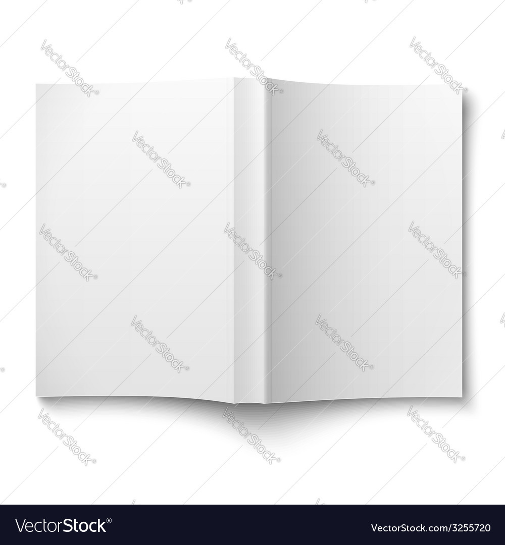 Blank softcover book template spread out on white vector | Price: 1 Credit (USD $1)