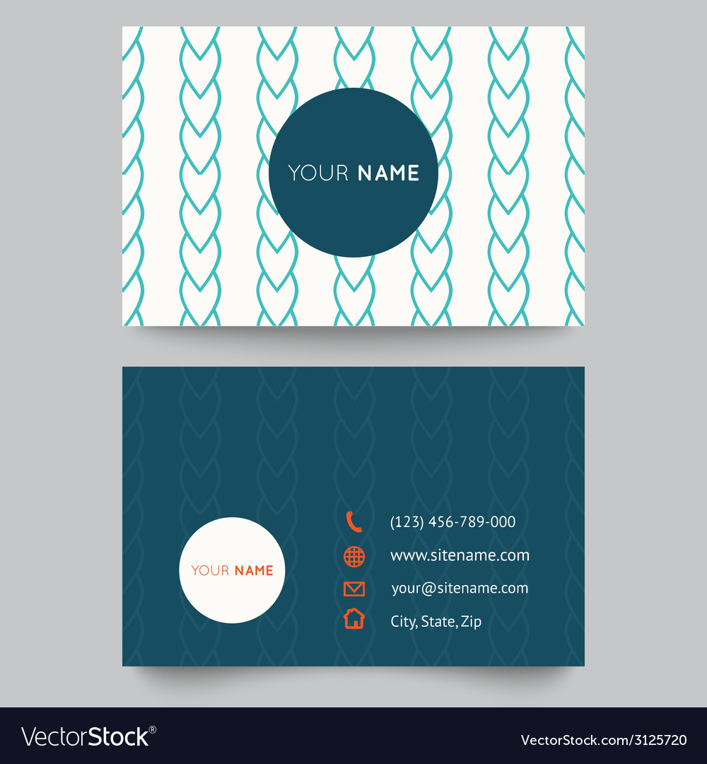 Business card template blue and white pattern vector | Price: 1 Credit (USD $1)