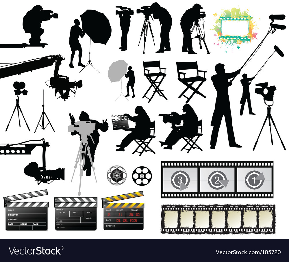 Cameramen and film set equipment vector | Price: 1 Credit (USD $1)
