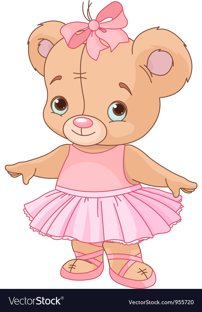 Cute teddy bear ballerina vector | Price: 3 Credit (USD $3)