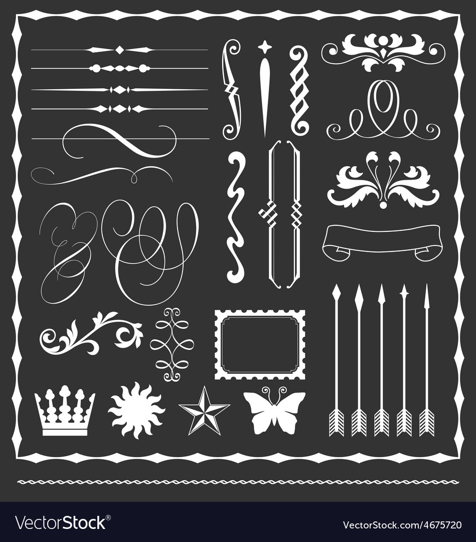 Decorative lines and border elements set vector | Price: 1 Credit (USD $1)