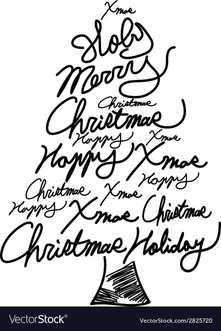 Doodle christmas tree word clouds vector | Price: 1 Credit (USD $1)