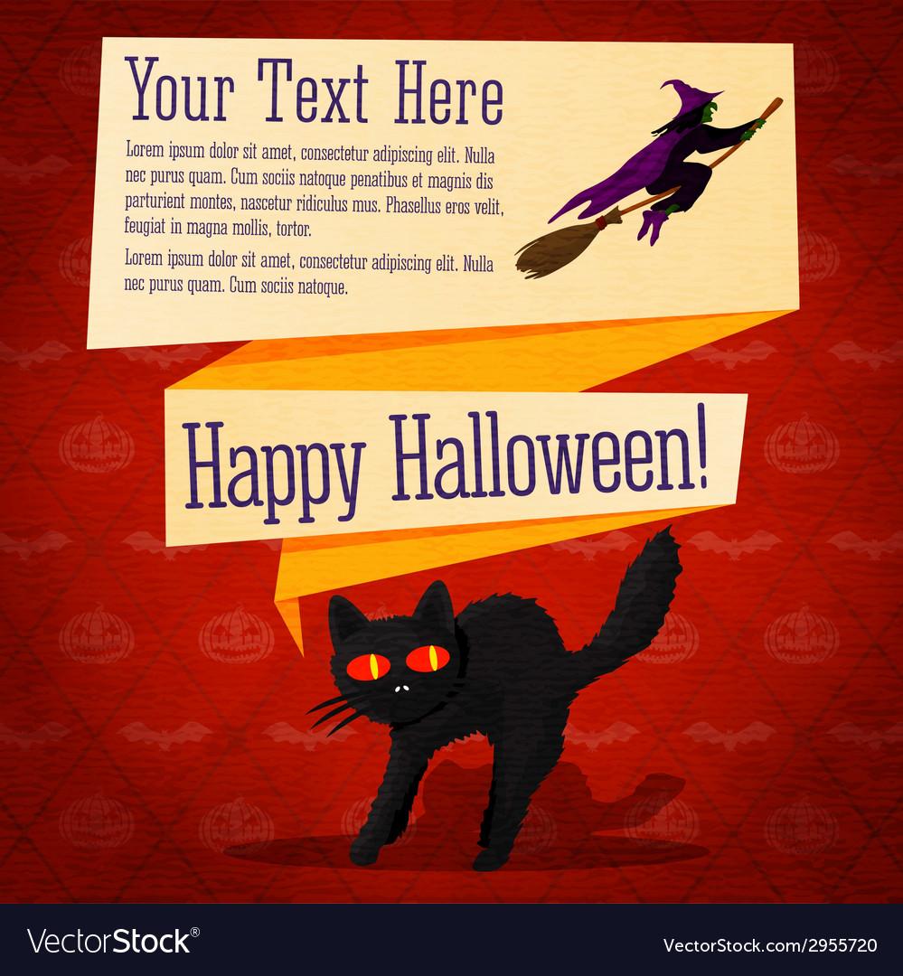 Happy halloween cute retro banner - craft paper vector | Price: 1 Credit (USD $1)