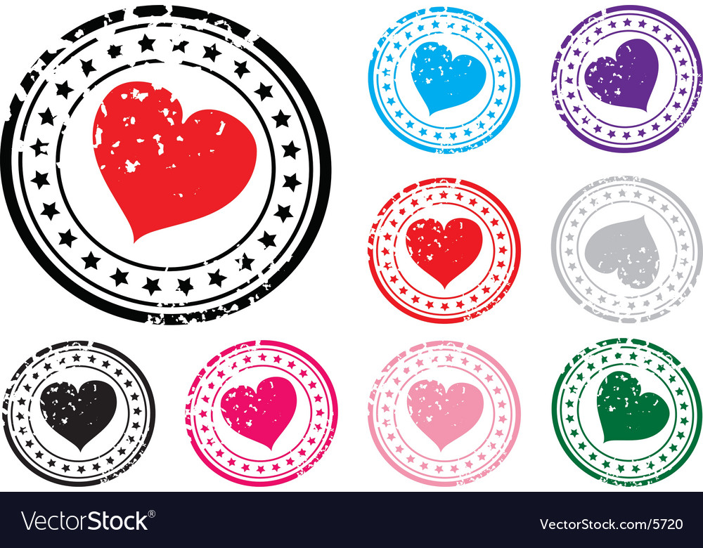 Heart stamp vector | Price: 1 Credit (USD $1)