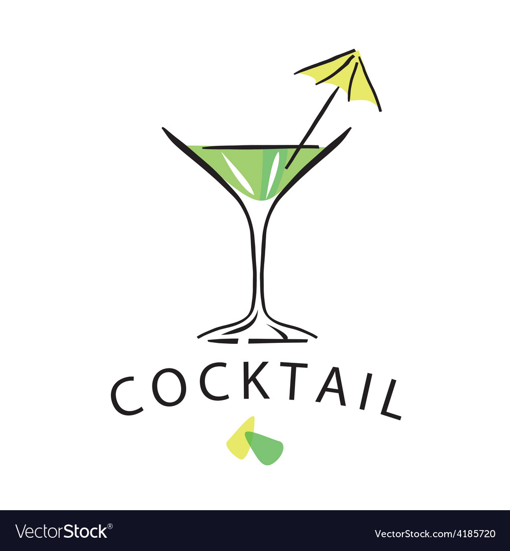 Logo cocktail glass with umbrella vector | Price: 1 Credit (USD $1)