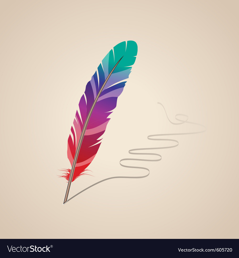 Many-coloured feather vector | Price: 1 Credit (USD $1)