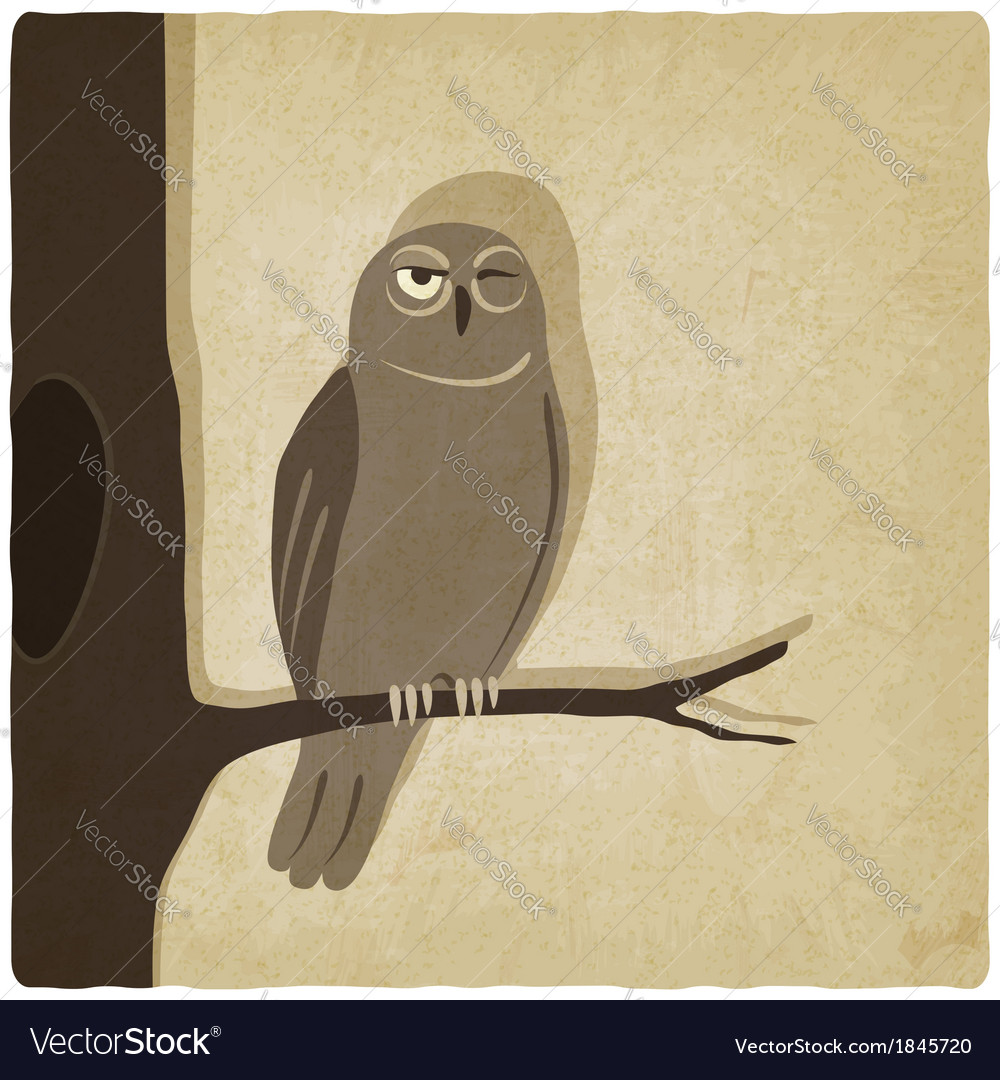 Owl on branch old background vector | Price: 1 Credit (USD $1)