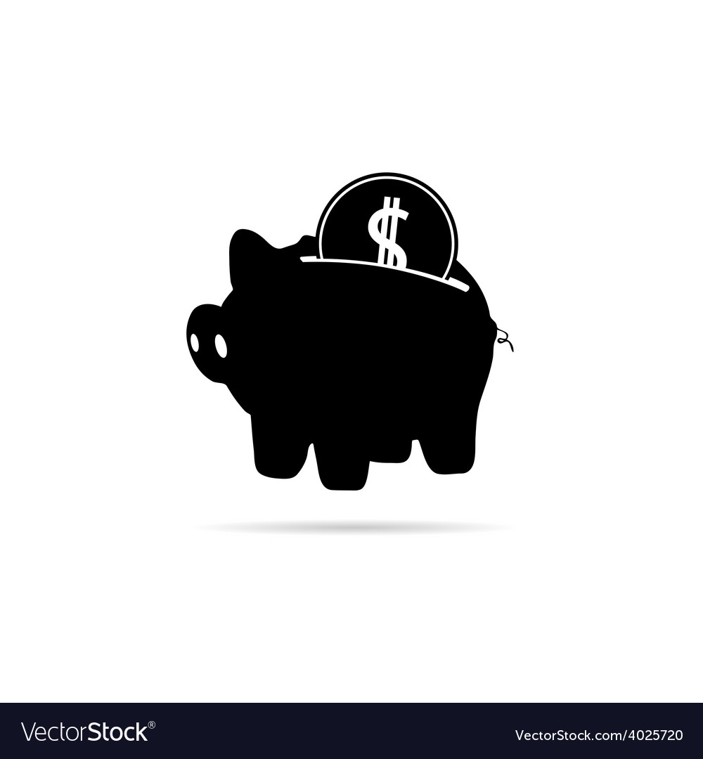 Piggy bank with coin black vector | Price: 1 Credit (USD $1)