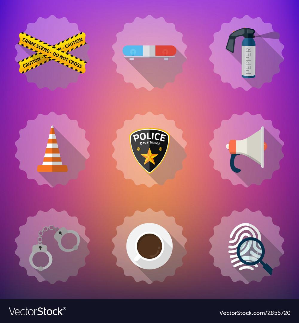 Police sequrity flat icon set include road cone vector   Price: 1 Credit (USD $1)