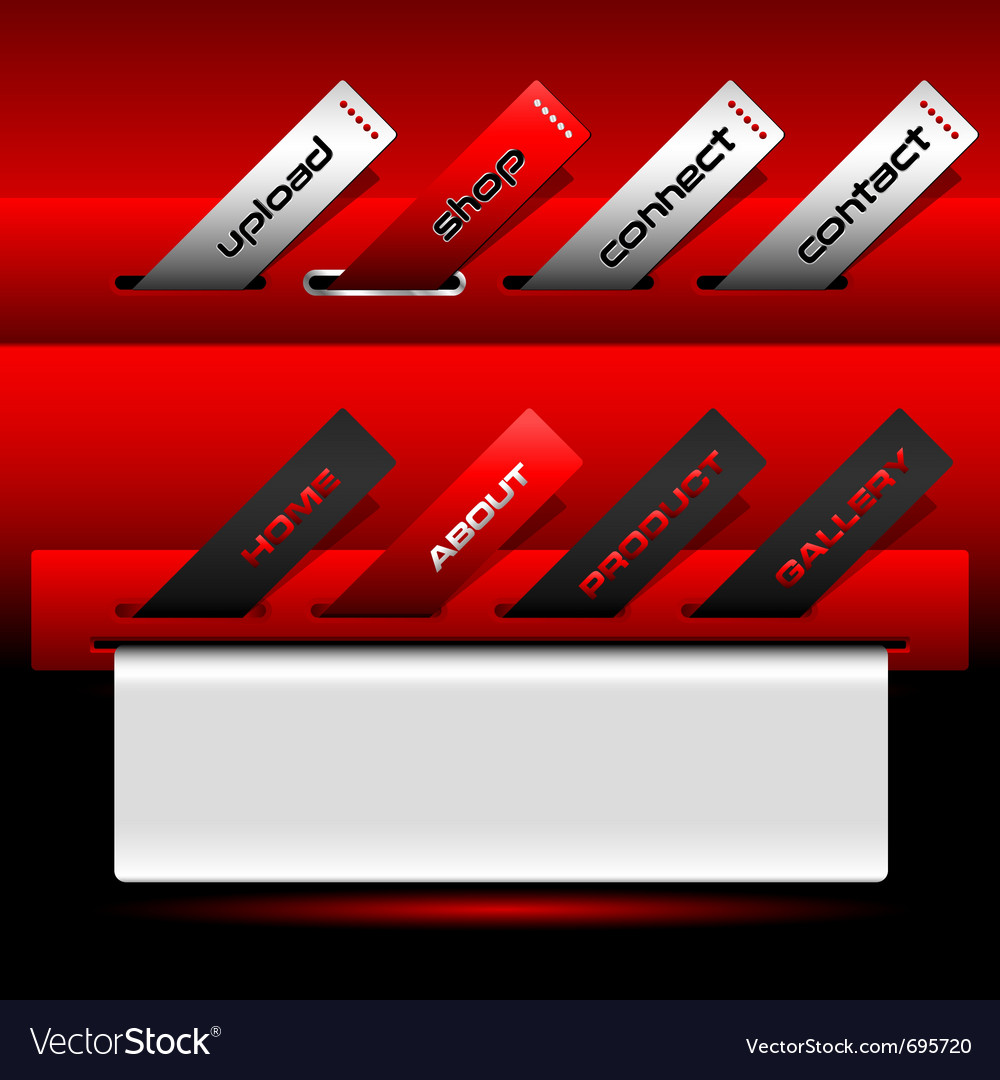 Red buttons ticket website menu vector | Price: 1 Credit (USD $1)