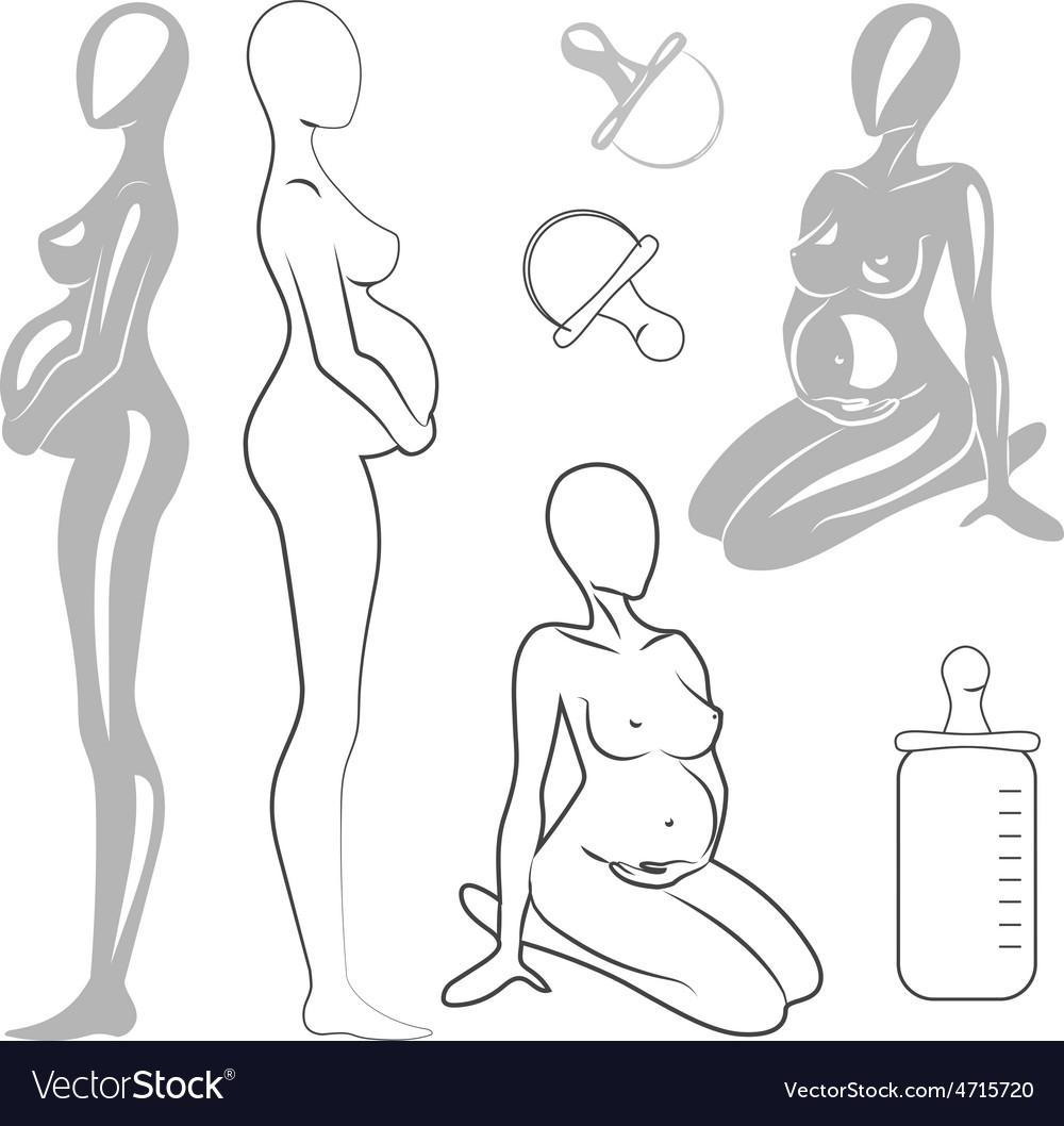 Set pregnant women vector   Price: 1 Credit (USD $1)