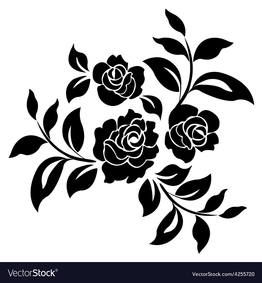 Silhouette of roses vector | Price: 1 Credit (USD $1)