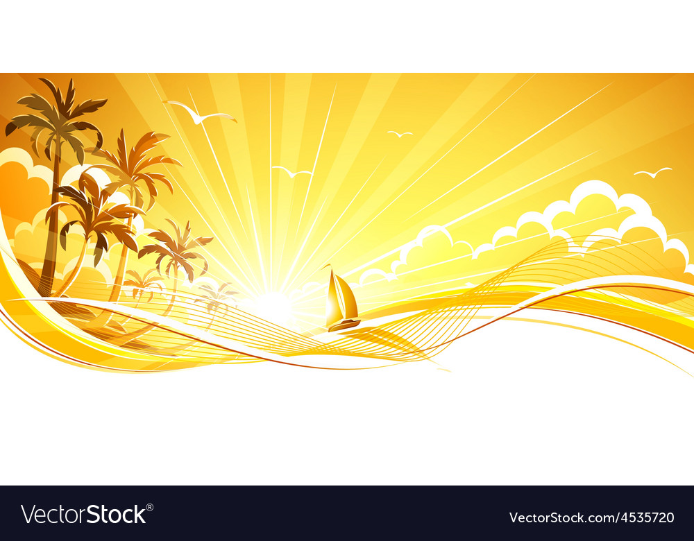 Sunny background with palm trees vector | Price: 3 Credit (USD $3)