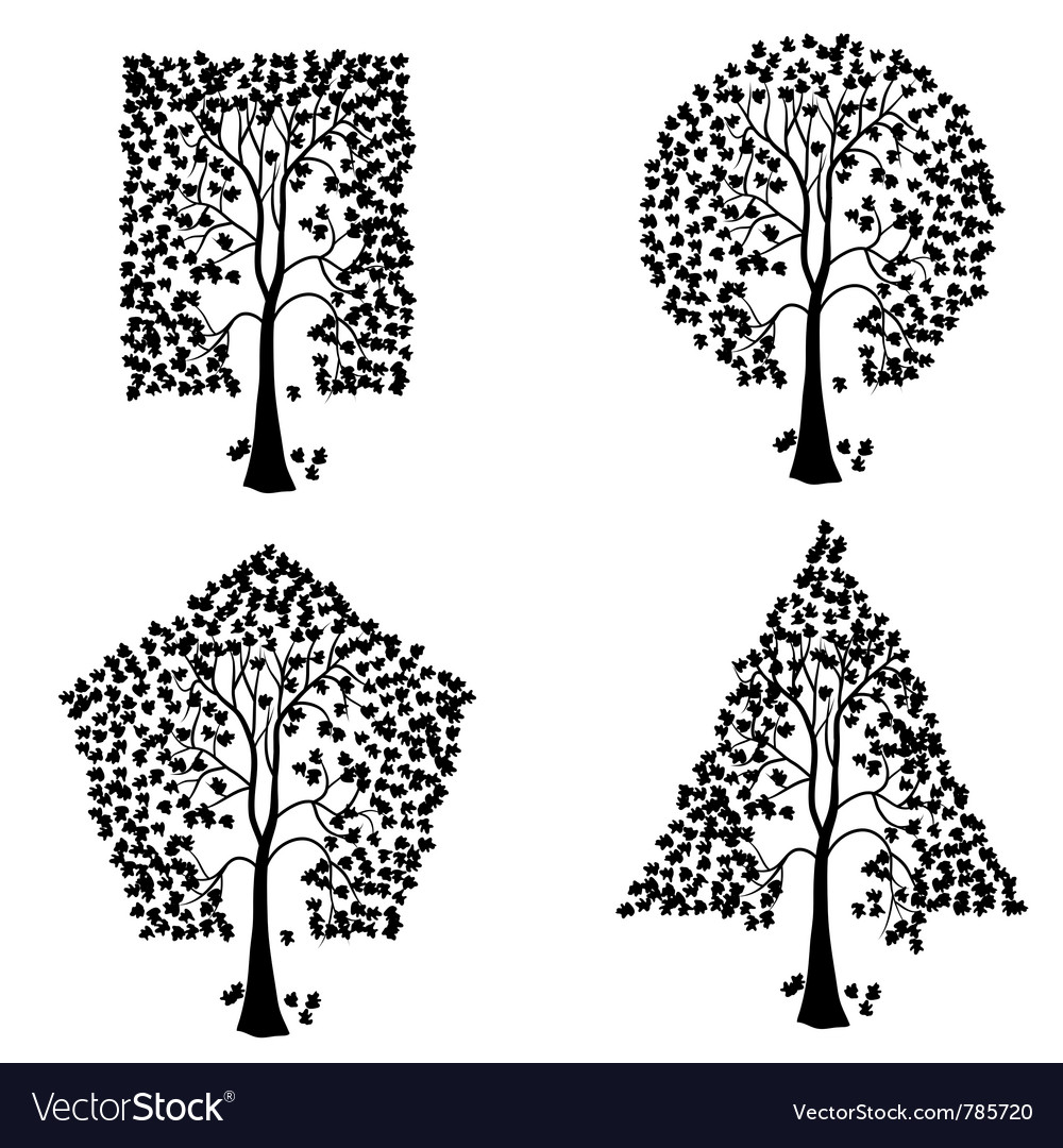 Trees of different geometric shapes set vector | Price: 1 Credit (USD $1)