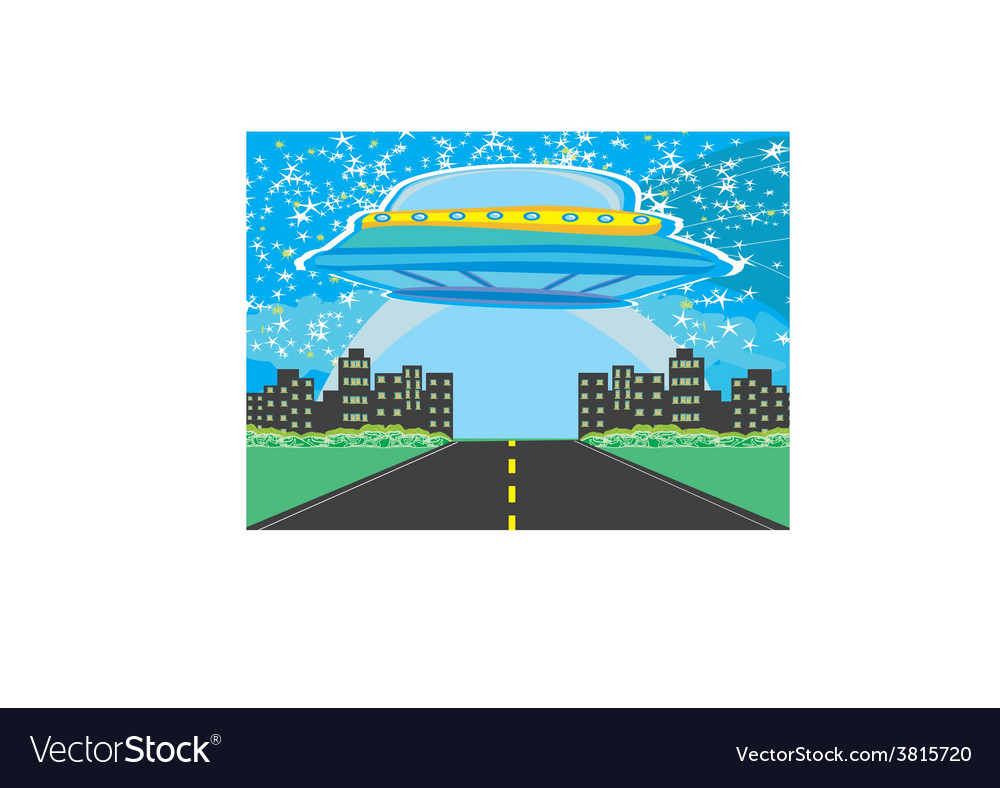 Ufo spaceship and big night city vector | Price: 1 Credit (USD $1)