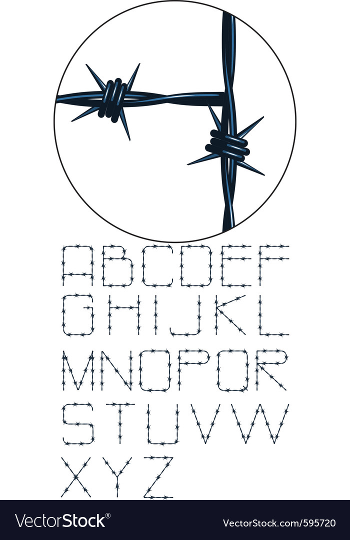 Very detailed barbed wire alphabet vector | Price: 1 Credit (USD $1)