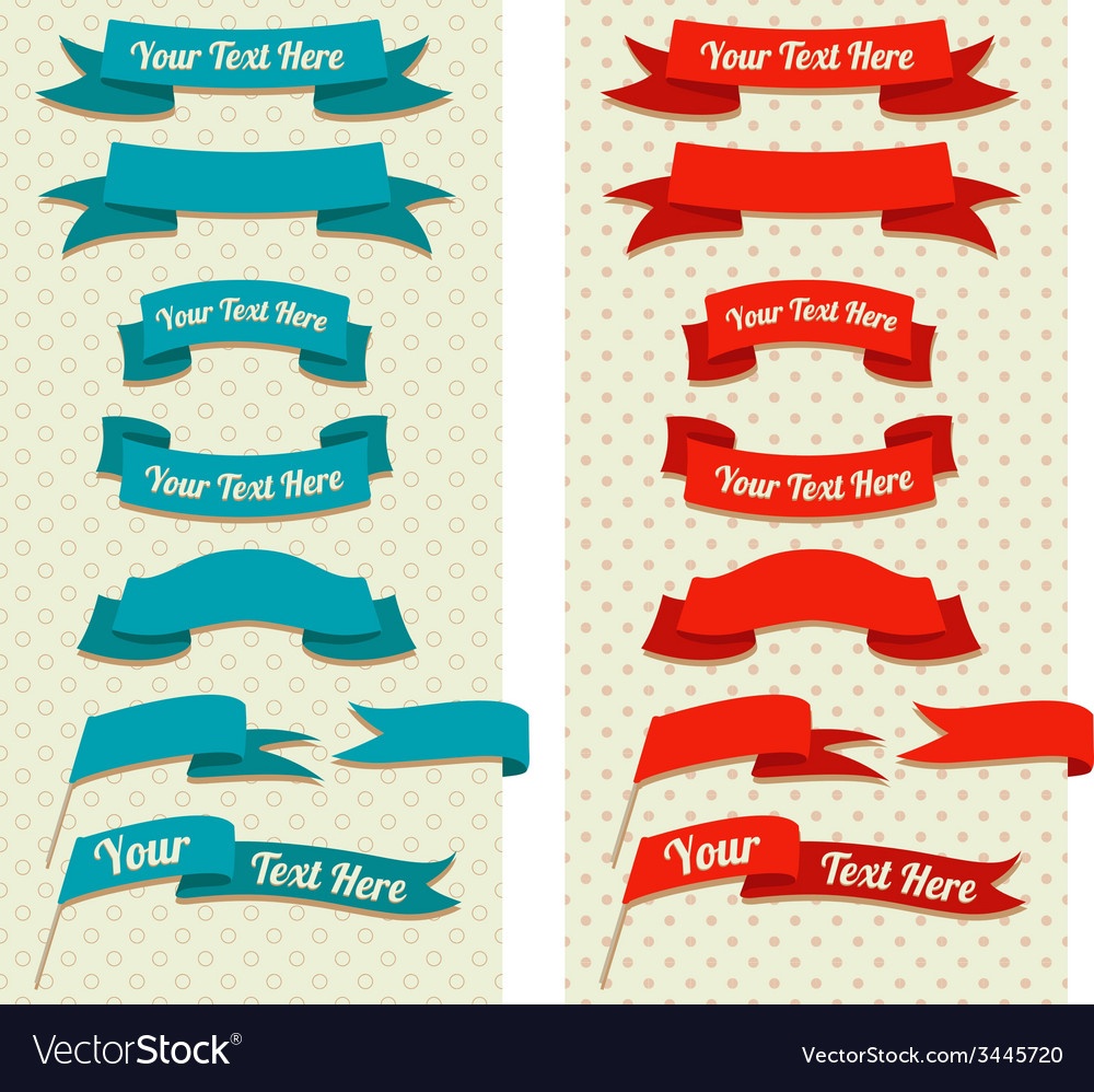 Vintage ribbons and flags on pastel pattern vector | Price: 1 Credit (USD $1)