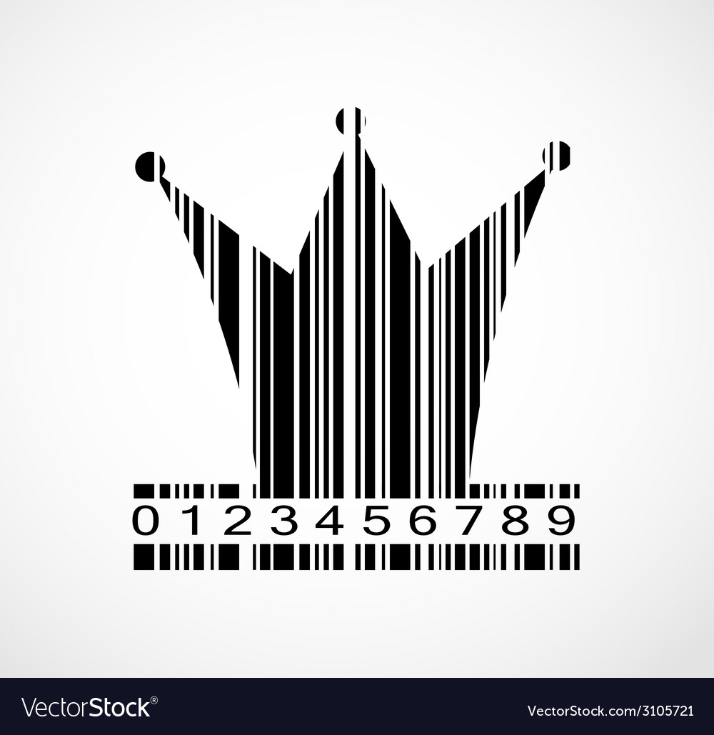 Barcode princess crown image vector | Price: 1 Credit (USD $1)