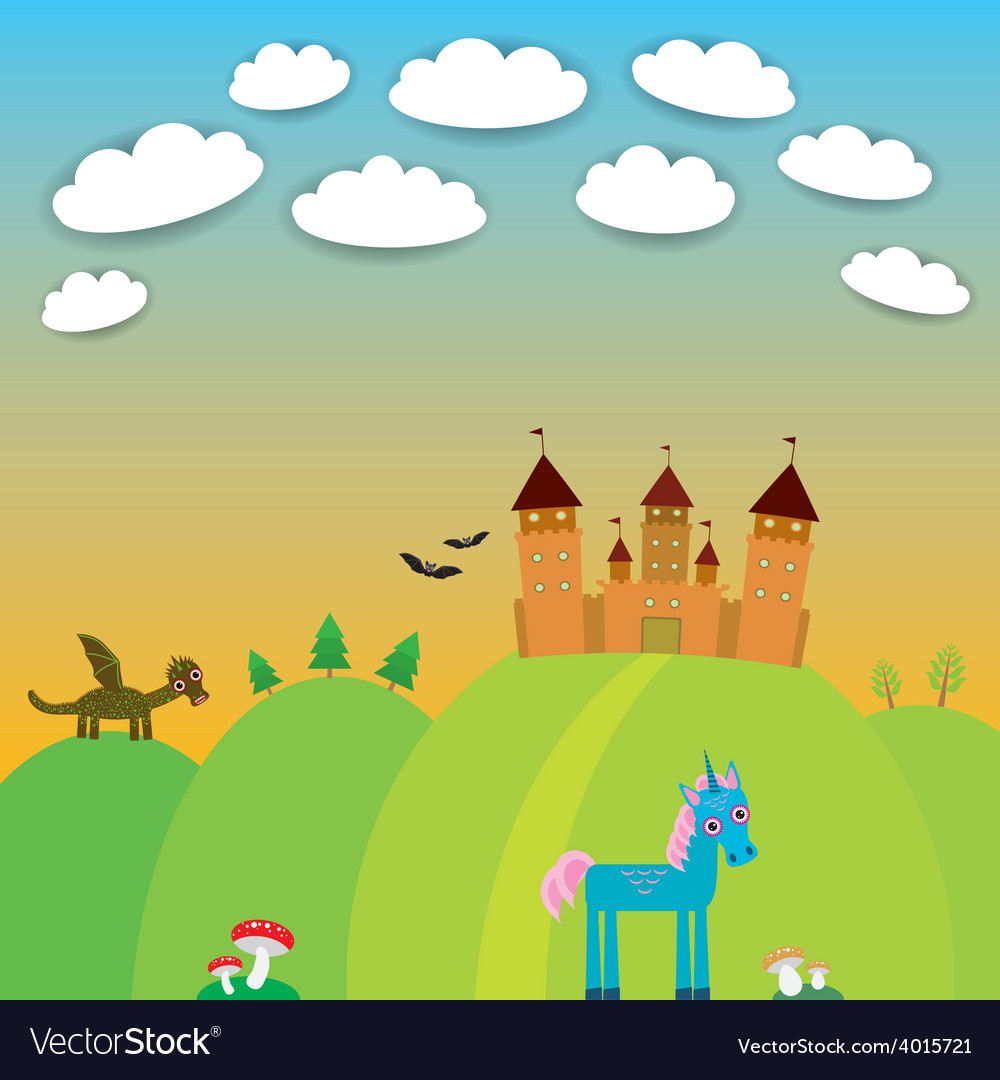 Card landscape with castle wizard cartoon dragon vector | Price: 1 Credit (USD $1)