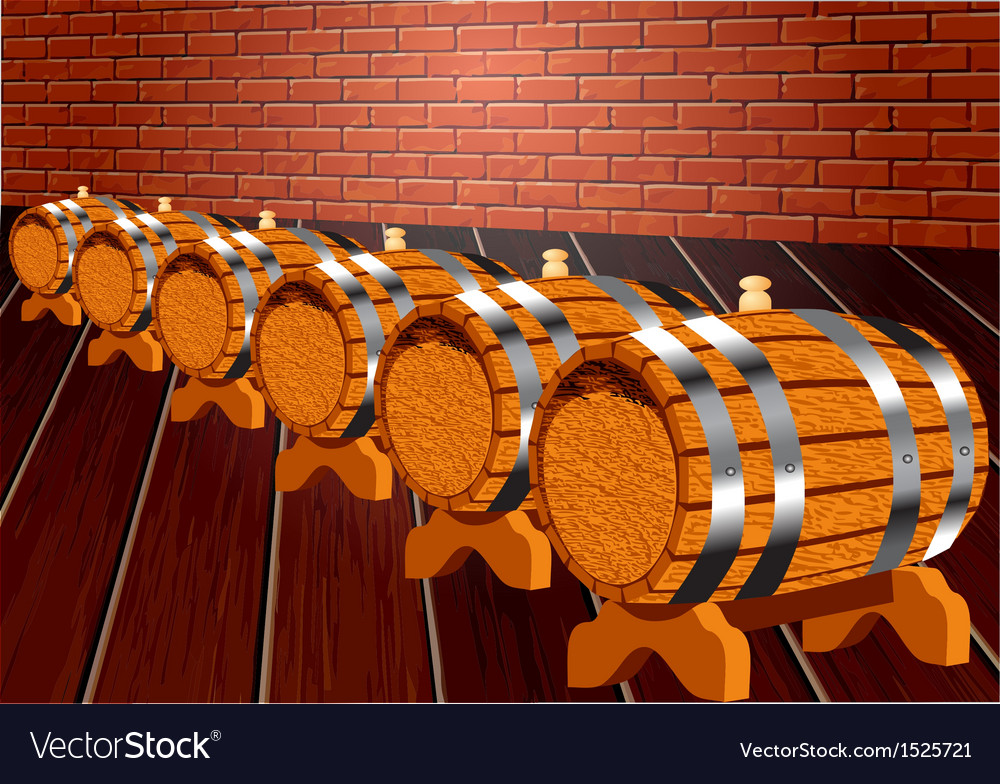 Cellar with wine barrels vector | Price: 1 Credit (USD $1)