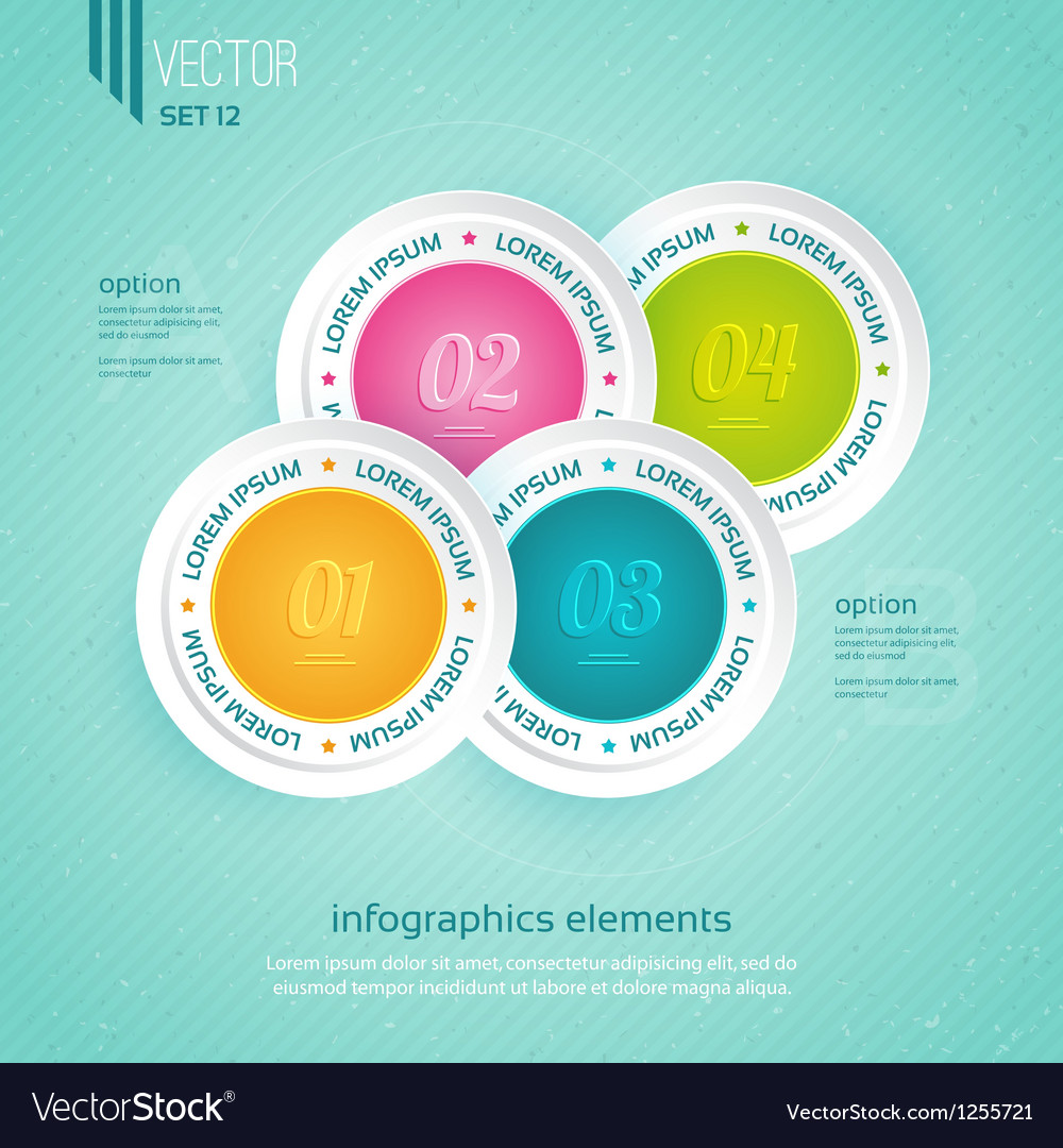 Colored icons for four steps vector   Price: 1 Credit (USD $1)