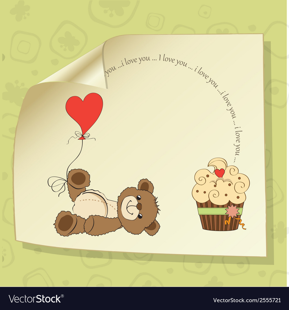 Cute love card with teddy bear vector | Price: 1 Credit (USD $1)