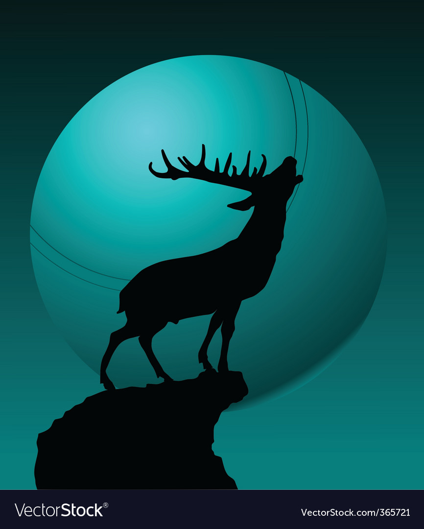 Deer and moon vector | Price: 1 Credit (USD $1)