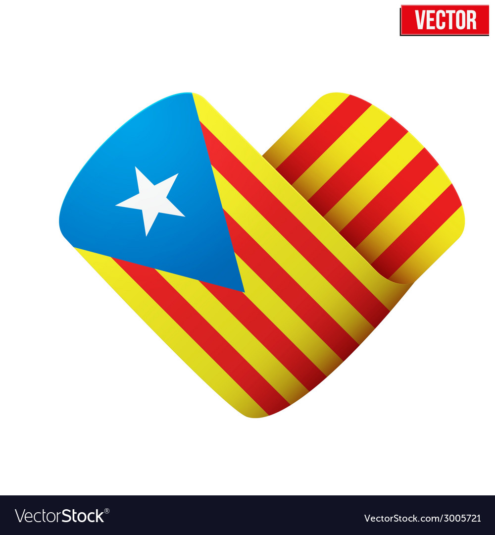 Flag icon in the form of heart i love catalonia vector | Price: 1 Credit (USD $1)