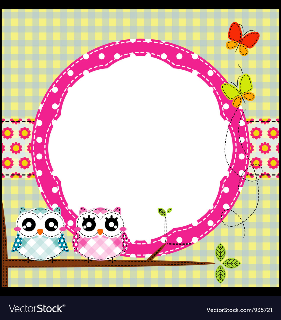 Frame of cute owls on branch vector | Price: 1 Credit (USD $1)
