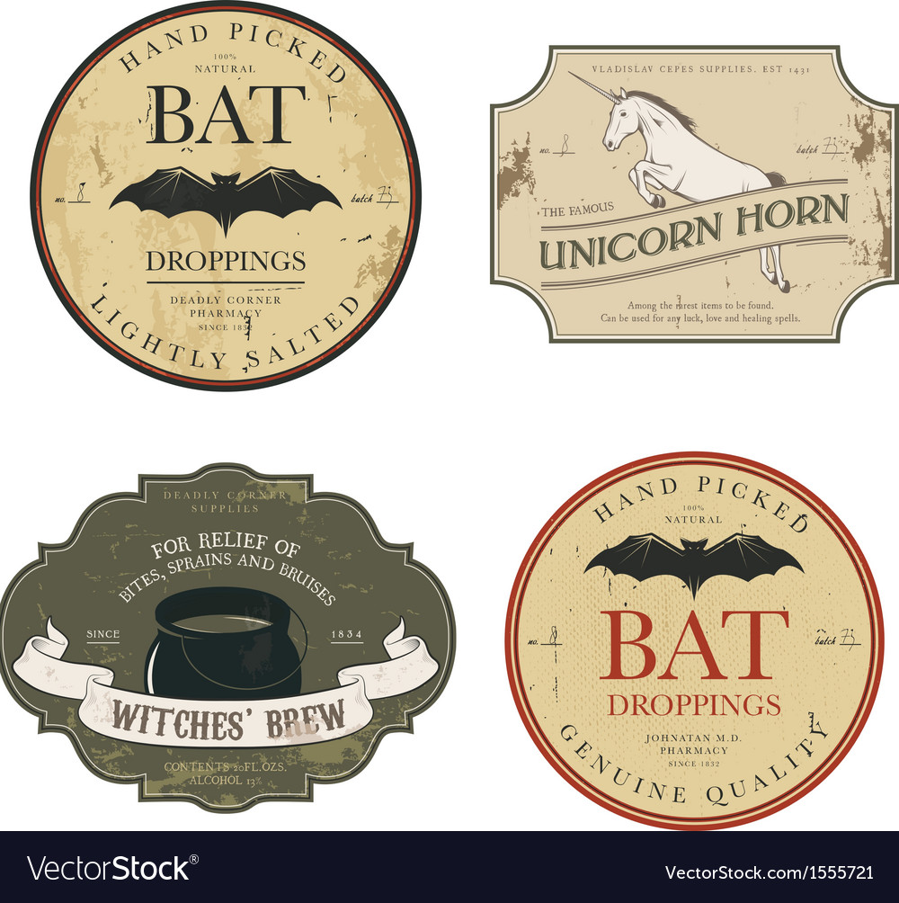 Funny vintage colored halloween potion labels vector | Price: 1 Credit (USD $1)