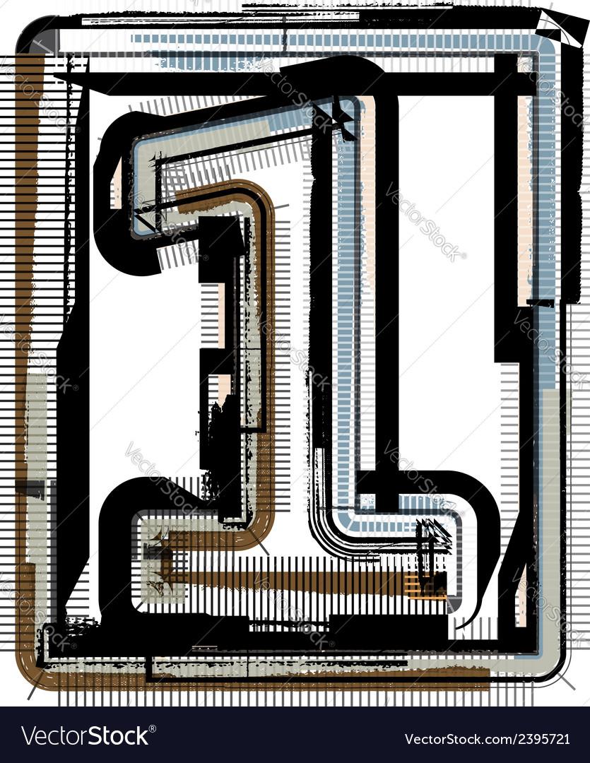 Grunge font number 1 vector   Price: 1 Credit (USD $1)
